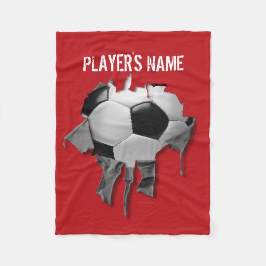 Torn Soccer Personalized Black Fleece Blanket