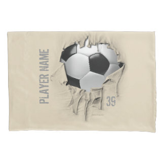 Torn Soccer Personalized White Pillowcase
