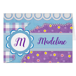 Torn Stitched Patchwork Monogram Card