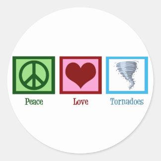 Tornades d'amour de paix sticker rond