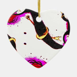 Tornado rubber chicken ceramic heart ornament