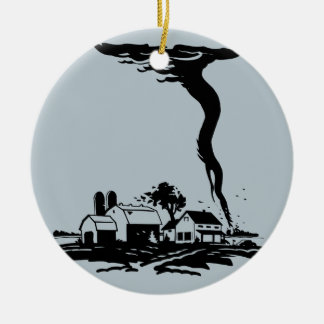 Tornado Storm Chaser Farm House Round Ceramic Ornament