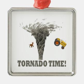 TORNADO TIME Silver-Colored SQUARE ORNAMENT