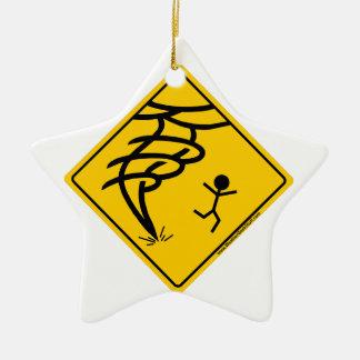 Tornado Warning Sign Ceramic Ornament