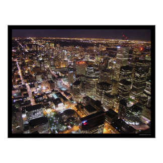 Toronto at Night from the CN Tower Poster