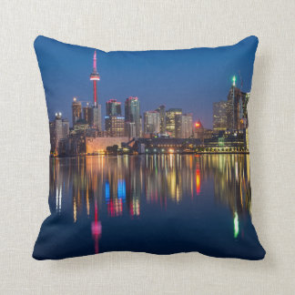 Toronto Canada night cityscape Throw Pillow