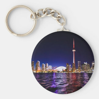 Toronto, Canada Night Skyline Basic Round Button Keychain