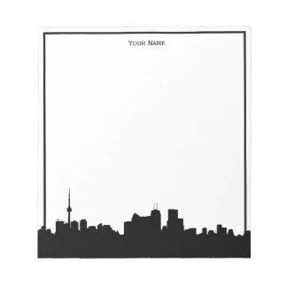 Toronto Canada Skyline Silhouette, DIY Color BG Notepad