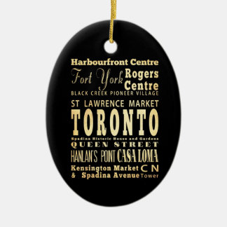 Toronto City of Canada Typography Art Ceramic Ornament
