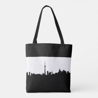 toronto cityscape canada city symbol black silhoue tote bag