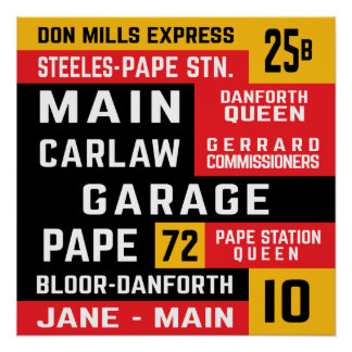 Toronto East End TTC Bus Rollsigns Poster