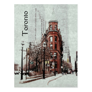 Toronto flat iron building - retro styled postcard