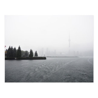 Toronto Harbour Skyline in the Rain Postcard