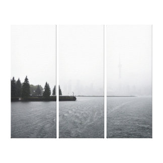 Toronto Harbour Skyline in the Rain Triptych Canvas Print