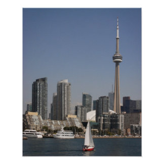 Toronto Harbour Skyline with Red Boat Poster