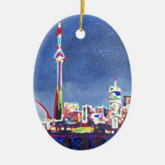 Toronto Neon Shimmering Skyline with CN Tower Ceramic Oval Ornament