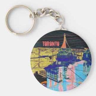 Toronto night downtown collage keychain