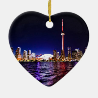 Toronto Night Skyline Ceramic Ornament