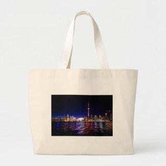 Toronto Night Skyline Large Tote Bag