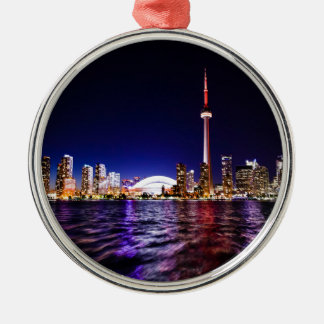 Toronto Night Skyline Metal Ornament