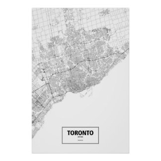 Toronto, Ontario (black on white) Poster