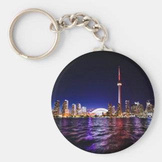 Toronto Skyline at Night Basic Round Button Keychain