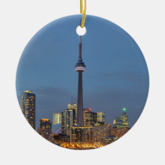 Toronto Skyline at night Ceramic Ornament
