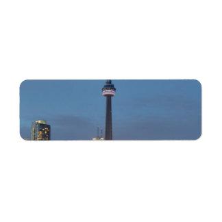 Toronto Skyline at night Return Address Label