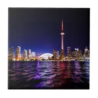 Toronto Skyline at Night Tiles