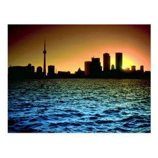 Toronto skyline at sunset, taken from Cherry Beach Postcard