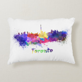 Toronto skyline in watercolor decorative pillow