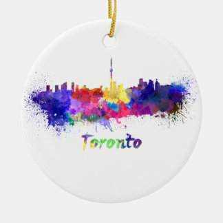 Toronto skyline in watercolor round ceramic ornament