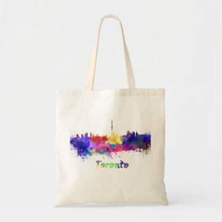 Toronto skyline in watercolor tote bag
