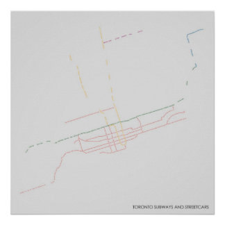 Toronto Subways and Streetcars Typographic Map Poster
