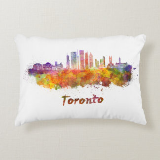 Toronto V2 skyline in watercolor Accent Pillow