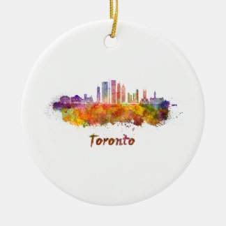 Toronto V2 skyline in watercolor Ceramic Ornament
