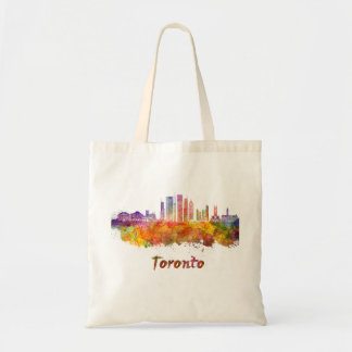 Toronto V2 skyline in watercolor Tote Bag