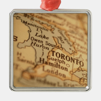 TORONTO Vintage Map Metal Ornament