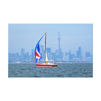 Toronto Waterfront with Sailboat Canvas Print