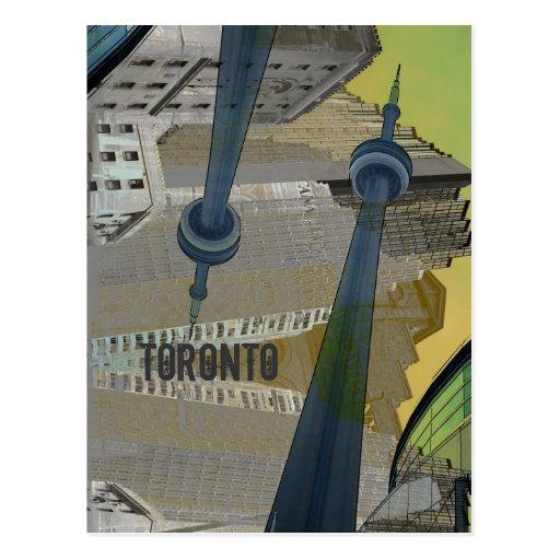 Toronto with CN tower postcard