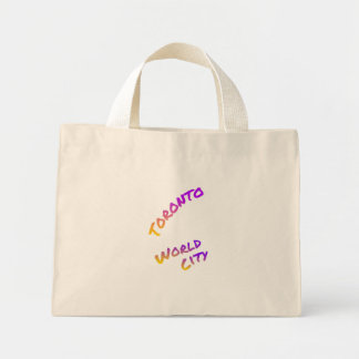 Toronto world city, colorful text art mini tote bag