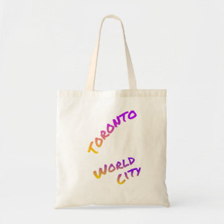 Toronto world city, colorful text art tote bag