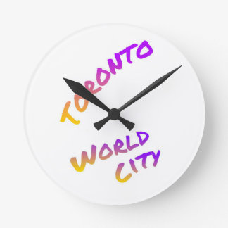 Toronto world city, colorful text art wall clock