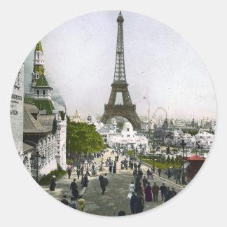 Torre Eiffel Universal Exhibition of Paris Round Sticker