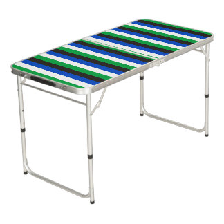 Torres Strait Islander flag stripes color lines pa Beer Pong Table