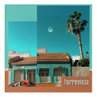 Torrevieja in Orange and Turqoise Acrylic Wall Art