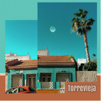 Torrevieja in Orange and Turqoise Standing Photo Sculpture
