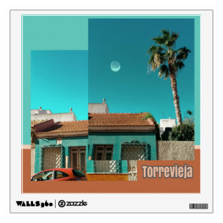 Torrevieja in Orange and Turqoise Wall Decal