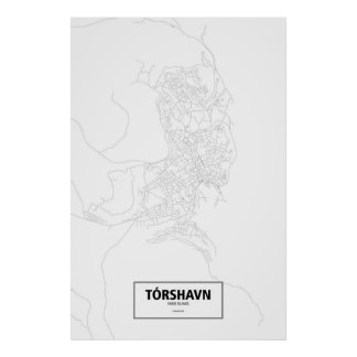 Tórshavn, Faroe Islands (black on white) Poster