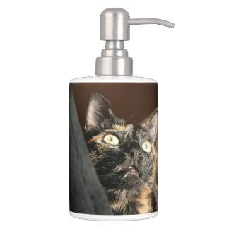 tortie cat soap more dispender & tooth brush bathroom set